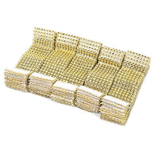 Fdit 50 / 100pcs 8 Reihen-Stuhl-Schärpen-Servietten-Ring-Diamant-Maschen-Verpackungs-Band für das Heirats-Weihnachtsheiße Serviettenringe Strass Serviettenschnalle Schmuck für Hochzeits Dinner Party