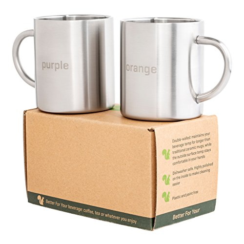 4. Stainless Steel Double Wall Coffee Mugs