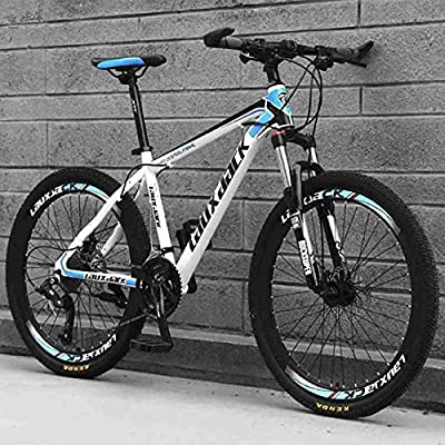 Jaceyon Mountain Bike 26-inch Outdoor Sports, Aluminum Frame, 21-Speed Rear Derailleur, Suitable for Men and Women Cycling Enthusiasts -US Stock (White-Blue)