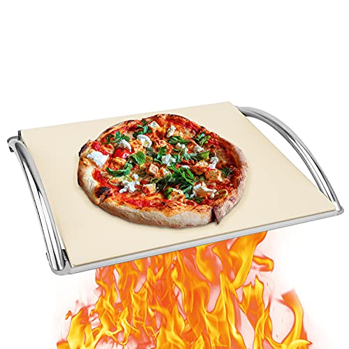 """Skyflame 14"""" x 16"""" Rectangle Ceramic Pizza Baking Stone with Metal Handle Rack Fits For Most Charcoal Grills, Gas Grills, Pizza Oven, Pellet Grills, BGE, Kamado Grills, Smoker"""