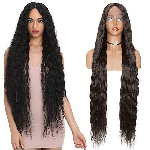 "38""(96cm) SEGO Lace Front Wig Pelucas Negras Sintéticas Largas Rizadas Mujer Se Ve Natural [Negro Intenso] para Anime Disfraz Cosplay Halloween Ondulada"