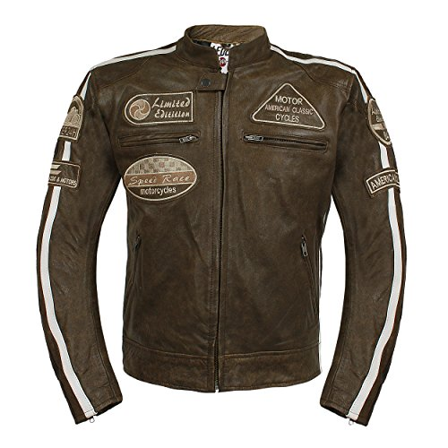 Leder24h Herren Motorrad Lederjacke mit Protektoren 2075 (Braun, 4XL)