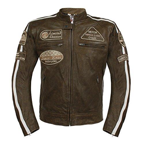 Leder24h Herren Motorrad Lederjacke mit Protektoren Taschen 2075 (3XL)