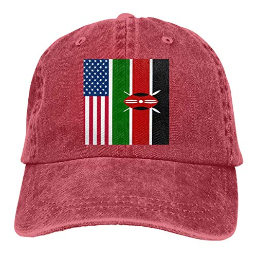 Casquette de baseball en denim avec drapeau américain du Kenya