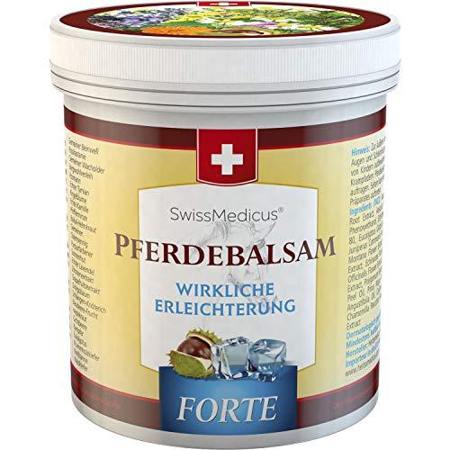 SwissMedicus - Bálsamo de caballo forte – efecto frío - de 500 ml - que contiene extractos de 25 hierbas - Consuelda - castaño de Indias - enebro - árnica y eucalipto