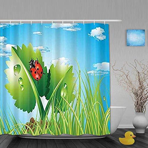 Dekoration Duschvorhang Lebendiger Marienkäfer Insektenblatt Pflanze Badvorhänge Wasserdichter Stoff Badezimmer Dekor Set mit Haken