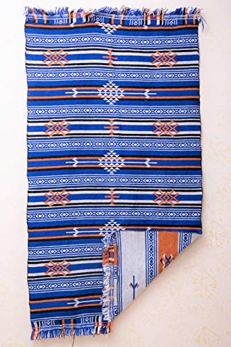 SOLTAKO Kelim Teppich mit Fransen, beidseitig verwendbar, mehrfahrbig, 100% Wolle, Vintage, bunter Läufer, orientalischer Berber Chindi Teppich, Ethno Muster, orange/blau, 110 x 180 cm