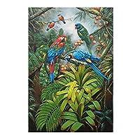 """ジャングルのキャンバスの壁の芸術色のオウム絵の絵画ポスターとプリントリビングルームオフィスの家の装飾23.6"""" x35.4""""(60x90cm)フレームレス"""