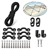 PERCARE Premium Kayak Bungee Cord Deck Rigging Kit 8 Feet Black with Screws and 2 J-Hooks, Boat Canoe Accessory Outfitting Fishing Storage Bungee Kit Tie Down Pad Eye with Screw and Lashing Hook