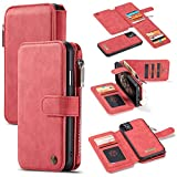GFU Detachable Zipper iPhone 11 Wallet Case Best Thin Card Holder Leather Magnetic Slim Flip Strap Stand 2-in-1 Purse Wallet Case for iPhone 11 6.1 inch 2019 for Men for Women Girls (Red)