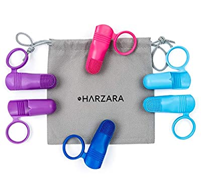 Harzara Professional Pet Finger Toothbrushes. 6 Pack. Best for a Dog,Puppy, Cat or Kitten. Unique Finger Holes to Fit All & Safety Ring to Protect Your Pet. For Regular Teeth Cleaning & Dental Care.