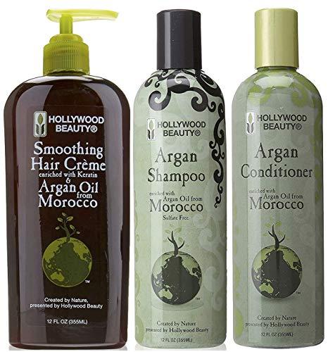 Ensemble de crème, shampooing et revitalisant lissant à l'argan Hollywood Beauty