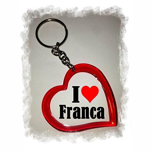 """EXCLUSIVO: Llavero del corazón """"I Love Franca"""" , una gran idea para un regalo para su pareja, familiares y muchos más! - socios remolques, encantos encantos mochila, bolso, encantos del amor, te, amigos, amantes del amor, accesorio, Amo, Made in Germany."""