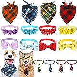 16 Collares de Pajarita de Perro Bandanas Corbatas de Mascota Collar Ajustables de Flor Bufanda Babero Triangular Disfraz de Mascota Ajustable Surtido Accesorio de Aseo para Perro Gato