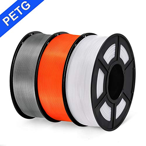 PETG 3D Printer Filament, SUNLU PETG Filament 1.75mm Dimensional Accuracy +/- 0.02 mm, 1 kg Spool, PETG Grey + Orange + White