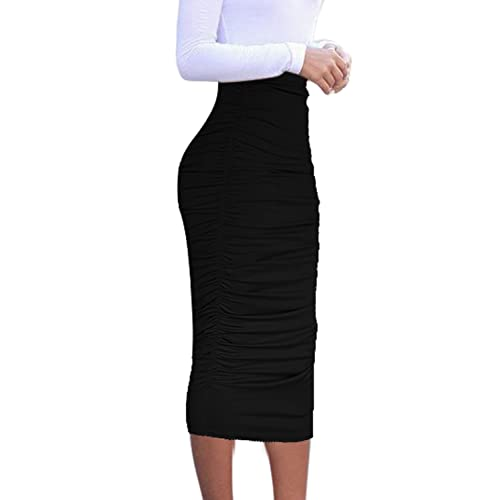 bfc318dfff VfEmage Womens Elegant Ruched Frill Ruffle High Waist Pencil Mid-Calf Skirt