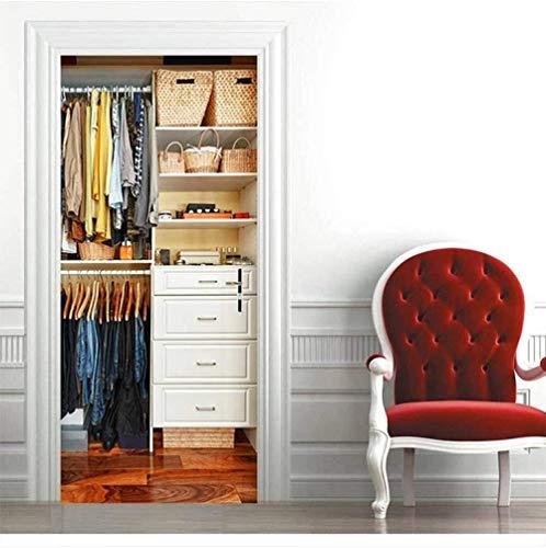 Türaufkleber Dekoration Wasserdicht 3D selbstklebende Türaufkleber dekorative Schlafzimmer Wohnzimmer Wandaufkleber-qUPuS -95cm (B) * 215cm (H)