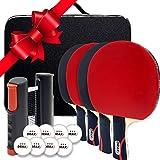 Draxx Kit Sportivo 4 Racchette da Ping Pong con Rete Retrattile + Sacchetto di Trasporto +...