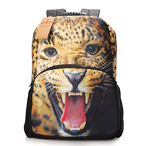 DRF Zaino 3D stampe animali in Tela porta laptop 15in SKU:BG-0110 (Leopard)