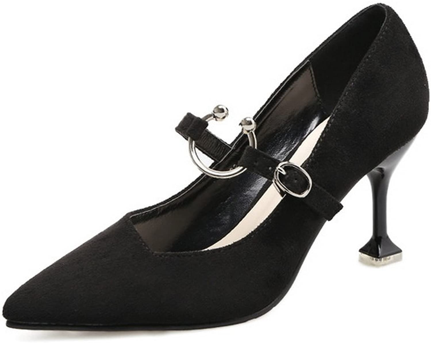1TO9 Womens Unique Platform Buckle Pointed-Toe Black Suede Pumps shoes - 6.5 B(M) US