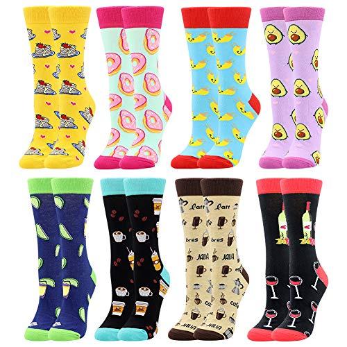 Damen Lustige Bunte Socken,Mädchensocken witzige Strümpfe, Fun Gemusterte Muster Socken, Verrückte Socken Modische Oddsocks Mehrfarbig Klassisch als Geschenk, Neuheit Sneaker (8 Paar-Pancake)