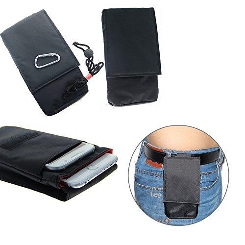K-S-Trade Gürtel Tasche Holster Kompatibel Mit Huawei P20 Lite Single-SIM Brusttasche Brustbeutel Schutz Hülle Smartphone Hülle Handy Schwarz Travel Bag Travel-Hülle Vertikal