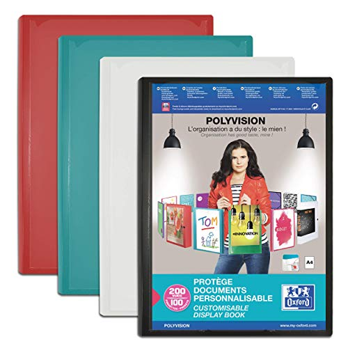 OXFORD Protège-Documents Polyvision A4 200 vues / 100 pochettes Couverture Polypro Opaque Coloris Assortis