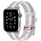Oumida Correa Compatible con Apple Watch 38mm 40mm 42mm 44mm,Correa Tejida de Repuesto,Pulseras de Repuesto Nylon Tejida para iWatch Series 6 5 4 3 2 1 (42mm/44mm, Gris y Blanco)