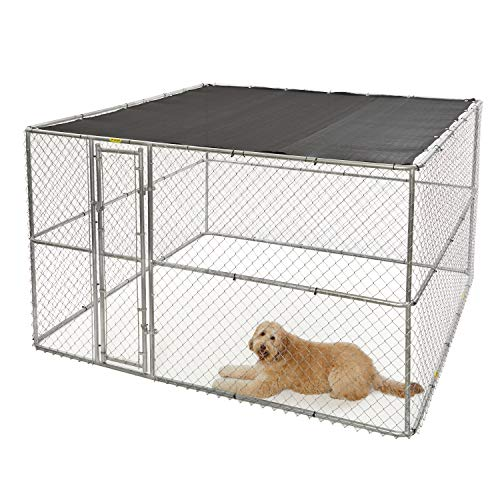 MidWest Homes for Pets XX-Large Chain Link Outdoor Dog Kennel | 10L x 10W x 6H' & Includes Free Sunscreen