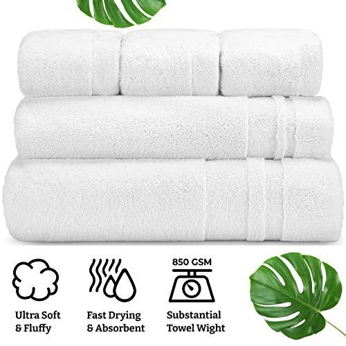 Turkish Laundry Luxury Bath Towel Set, Soft, Thick & Absorbent, 100% Organic Turkish Combed Cotton, 850 GSM, White