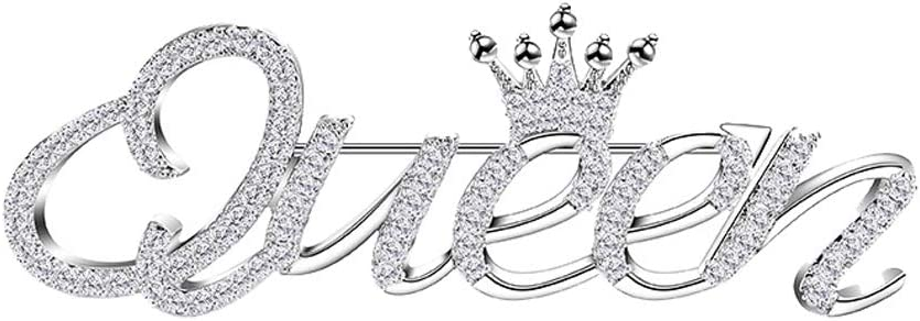 Sunvy Fashion Crystal Crown Queen Brooch Pin for Women, Elegant Bridal Corsage Brooch Pin Jewelry