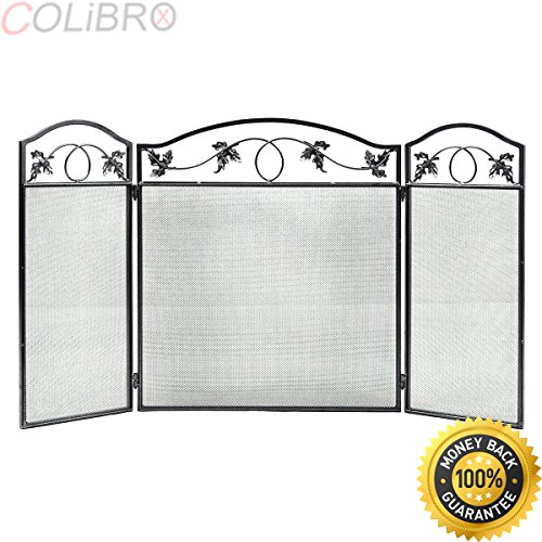 COLIBROX--Folding Steel Fireplace Screen Doors 3 Panel Heavy Duty Home Furni Decor Fire. best fireplace screen amazon. fireplace door sale. overstock fireplace screen. big lots fireplace screens.
