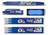 1FriXion–Bolígrafo, color azul, PLUS Set de 3tubos de tinta de recambio y goma de borrar, + extra Radierer   6 Minen, azul, 1