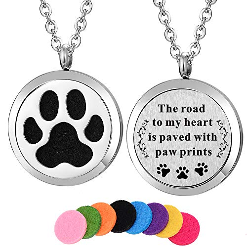 Kissreason Dog Paw Print Aroma Aromatherapy Essential Oil Diffuser Necklace for Women Girl