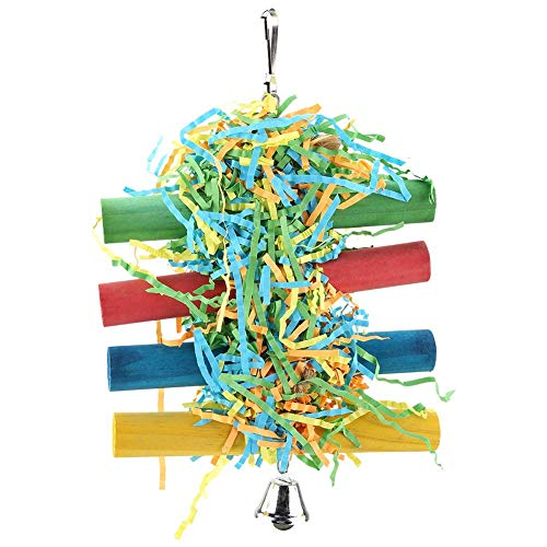 HEEPDD Bird Chewing Swing Toys Handmade Parrot Foraging Shredding Hanging Toy Cage Accessories with Bell for Macaw African Greys Eclectus Cockatoo Parakeet Cockatiel Conure Lovebird