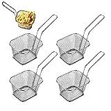 SurfMall 4/8Pcs Mini Cesta de Chip de Acero Inoxidable para Freír Ideal para Chips, Patatas Fritas, cuñas, Aros de Cebolla, camarones, langostinos, Tapas & Food presentación (4)