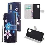 Miagon Bunt Muster Full Body Hülle für Samsung Galaxy S10 Lite,PU Leder Leder Flip Case Schutzhülle Tasche mit Ständer Kartenfach Magnetschnalle,Rosa Blau Blume