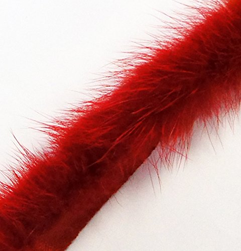 Real Mink Trim Red Decorative Edge Sew in Pipe Trim appx 1 Meter