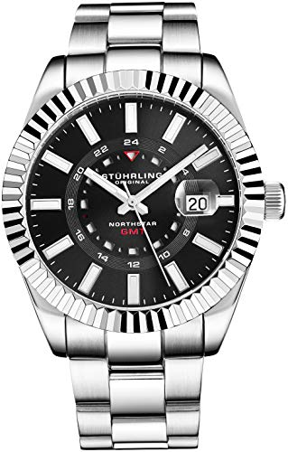 Stuhrling Original Reloj de Acero Inoxidable Northstar GMT para Hombre