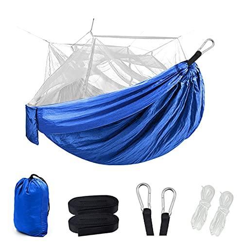 Hamaca con mosquitera Material de paracaídas Hamaca Ligera y portátil para Interior Exterior Senderismo Camping mochilero Viajes Patio Playa,
