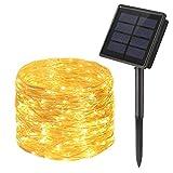 Guirnalda Luces Exterior Solar, OxyLED 300LED 30m Cadena de Luces de Alambre de Plata, 8...