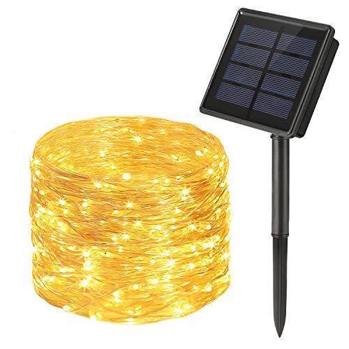 Guirnalda Luces Exterior Solar, OxyLED 300LED 30m Cadena de Luces de Alambre de Plata, 8 Modos Guirnaldas luminosas Solar Impermeable para Navidad, Fiestas, Bodas, Patio, Jardines(Blanco Cálido)