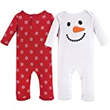 Hudson Baby Unisex Baby Coveralls/Union Suits, Snowman 2-Pack, 9-12M (XL)