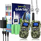 Wishouse Rechargeable Walkie Talkies for Kids with Charger Battery,Family Radio,Outdoor Game Camping Spy Amy Police Toy,Birthday Party Gift for 4 5 6 7 8 9 10 Year Old Girl Boy