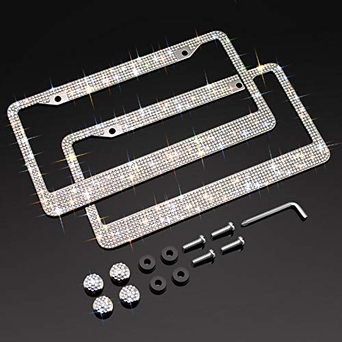XCLPF Bling License Plate Frame for Women, Sparkly Stainless Steel License Plate Frames| Over 1000 pcs 14 Facets Bedazzled Clear Glass Diamond Rhinestone Crystals w/Free Glitter White Diamond