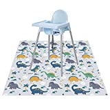 Baby Splat Floor Mat for Under High Chair/Arts/Crafts by CLCROBD, 51' Waterproof Anti-Slip Food Splash Spill Mat for Eating Mess, Washable Floor Protector Mat and Table Cloth (Dinosaur)