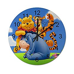 UHBBT Winnie The Pooh and Eeyore Tigger 12 inch Wooden Indoor Silent Decorative Battery Operated Lager Wall Clock for Living Room Home Office School Rustic Clock Round Wall Clock3434cm