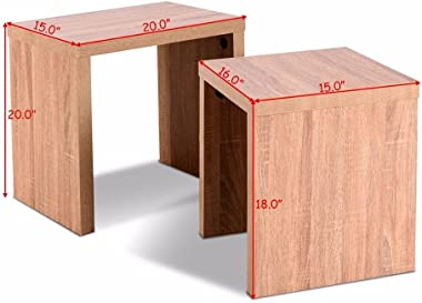 Jacksing Set of 2 Nesting Coffee End Table Side Table Wood Color Living Room Furniture HW58203