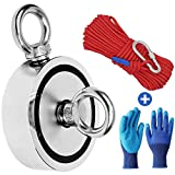 "Fishing Magnets with Rope, 1700lbs Combined Strength Strong Retrieval Neodymium Magnet Fishing Kit Double Sided with 64ft Rope & Glove for River Magnet Fishing - 3.7"" Diameter"