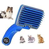 The Pets Company Plastic Dog Automatic Slicker Brush with Press Key, Blue